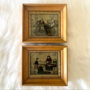 SET OF 2 vintage (antique?) framed illustrations